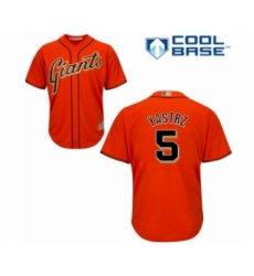 Youth San Francisco Giants #5 Mike Yastrzemski Authentic Orange Alternate Cool Base Baseball Player Jersey