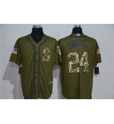 Mariners 24 Ken Griffey Jr  Olive 2020 Nike Cool Base Jersey