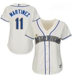 Mariners #11 Edgar Martinez Cream Alternate Women Stitched Baseball Jersey