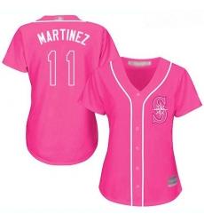 Mariners #11 Edgar Martinez Pink Fashion Women Stitched Baseball Jersey