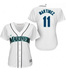 Mariners #11 Edgar Martinez White Home Women Stitched Baseball Jersey