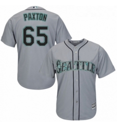 Youth Majestic Seattle Mariners 65 James Paxton Replica Grey Road Cool Base MLB Jersey