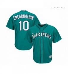 Youth Seattle Mariners 10 Edwin Encarnacion Replica Teal Green Alternate Cool Base Baseball Jersey