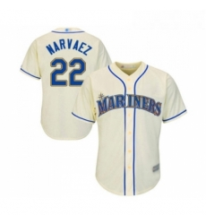 Youth Seattle Mariners 22 Omar Narvaez Replica Cream Alternate Cool Base Baseball Jersey