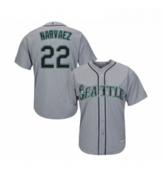 Youth Seattle Mariners 22 Omar Narvaez Replica Grey Road Cool Base Baseball Jersey