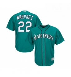 Youth Seattle Mariners 22 Omar Narvaez Replica Teal Green Alternate Cool Base Baseball Jersey