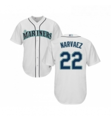 Youth Seattle Mariners 22 Omar Narvaez Replica White Home Cool Base Baseball Jersey
