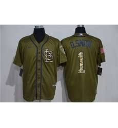Cardinals 1 O Smith Olive 2020 Nike Cool Base Jersey
