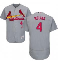 Men St. Louis Cardinals #4 Yadier Molina Grey MLB Jersey