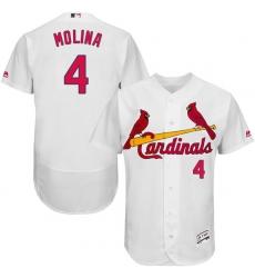 Men St. Louis Cardinals #4 Yadier Molina White MLB Jersey