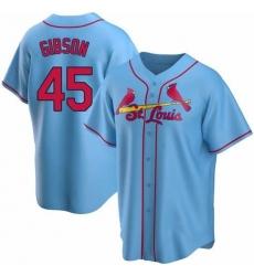 Men St. Louis Cardinals Bob Gibson Light Blue button Up jersey