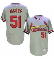 Mens Majestic St Louis Cardinals 51 Willie McGee Grey Flexbase Authentic Collection Cooperstown MLB Jersey