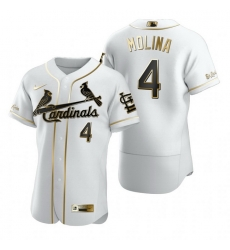 St. Louis Cardinals 4 Yadier Molina White Nike Mens Authentic Golden Edition MLB Jersey