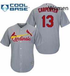 Womens Majestic St Louis Cardinals 13 Matt Carpenter Replica Grey Road MLB Jersey