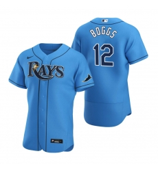 Men Tampa Bay Rays 12 Wade Boggs Men Nike Light Blue Alternate 2020 Flex Base Player MLB Jersey