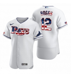 Men Tampa Bay Rays 12 Wade Boggs Men Nike White Fluttering USA Flag Limited Edition Flex Base MLB Jersey