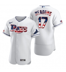 Men Tampa Bay Rays 17 Austin Meadows Men Nike White Fluttering USA Flag Limited Edition Flex Base MLB Jersey