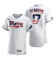 Men Tampa Bay Rays 17 Austin Meadows Men Nike White Fluttering USA Flag Limited Edition Flex Base MLB Jersey