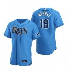 Men Tampa Bay Rays 18 Joey Wendle Men Nike Light Blue Alternate 2020 Flex Base Player MLB Jersey