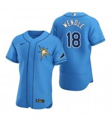 Men Tampa Bay Rays 18 Joey Wendle Men Nike Light Blue Alternate 2020 Flex Base Team MLB Jersey