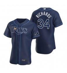 Men Tampa Bay Rays 34 Trevor Richards Men Nike Navy Alternate 2020 Flex Base Team MLB Jersey