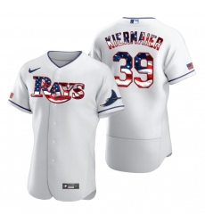 Men Tampa Bay Rays 39 Kevin Kiermaier Men Nike White Fluttering USA Flag Limited Edition Flex Base MLB Jersey
