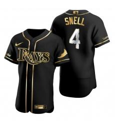 Men Tampa Bay Rays 4 Blake Snell Black Gold 2020 Nike Flexbase Jersey
