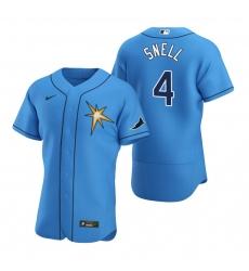 Men Tampa Bay Rays 4 Blake Snell Men Nike Light Blue Alternate 2020 Flex Base Team MLB Jersey