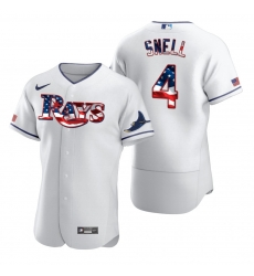 Men Tampa Bay Rays 4 Blake Snell Men Nike White Fluttering USA Flag Limited Edition Flex Base MLB Jersey