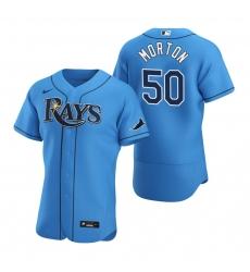 Men Tampa Bay Rays 50 Charlie Morton Men Nike Light Blue Alternate 2020 Flex Base Player MLB Jersey