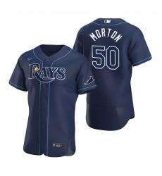 Men Tampa Bay Rays 50 Charlie Morton Men Nike Navy Alternate 2020 Flex Base Team MLB Jersey