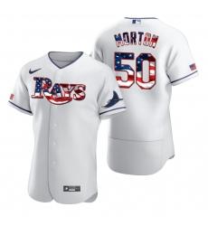 Men Tampa Bay Rays 50 Charlie Morton Men Nike White Fluttering USA Flag Limited Edition Flex Base MLB Jersey