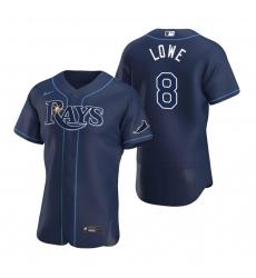 Men Tampa Bay Rays 8 Brandon Lowe Men Nike Navy Alternate 2020 Flex Base Team MLB Jersey