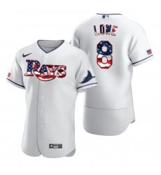 Men Tampa Bay Rays 8 Brandon Lowe Men Nike White Fluttering USA Flag Limited Edition Flex Base MLB Jersey