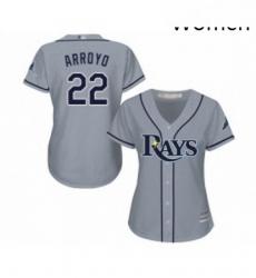 Womens Tampa Bay Rays 22 Christian Arroyo Replica Grey Road Cool Base Baseball Jersey