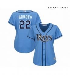 Womens Tampa Bay Rays 22 Christian Arroyo Replica Light Blue Alternate 2 Cool Base Baseball Jersey