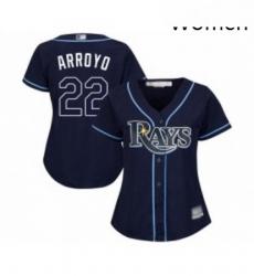 Womens Tampa Bay Rays 22 Christian Arroyo Replica Navy Blue Alternate Cool Base Baseball Jersey