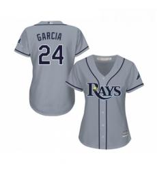 Womens Tampa Bay Rays 24 Avisail Garcia Replica Grey Road Cool Base Baseball Jersey