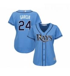 Womens Tampa Bay Rays 24 Avisail Garcia Replica Light Blue Alternate 2 Cool Base Baseball Jersey