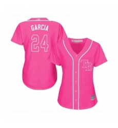Womens Tampa Bay Rays 24 Avisail Garcia Replica Pink Fashion Cool Base Baseball Jersey