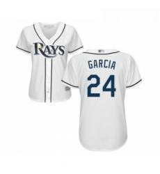 Womens Tampa Bay Rays 24 Avisail Garcia Replica White Home Cool Base Baseball Jersey