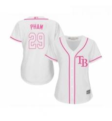 Womens Tampa Bay Rays 29 Tommy Pham Replica White Fashion Cool Base Baseball Jersey