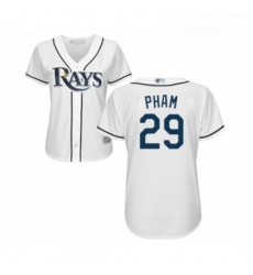 Womens Tampa Bay Rays 29 Tommy Pham Replica White Home Cool Base Baseball Jersey
