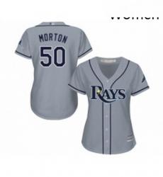 Womens Tampa Bay Rays 50 Charlie Morton Replica Grey Road Cool Base Baseball Jersey