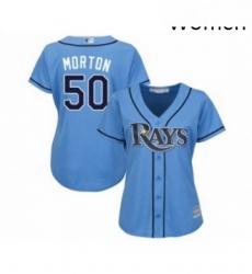 Womens Tampa Bay Rays 50 Charlie Morton Replica Light Blue Alternate 2 Cool Base Baseball Jersey