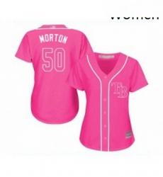 Womens Tampa Bay Rays 50 Charlie Morton Replica Pink Fashion Cool Base Baseball Jersey