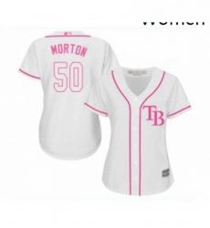 Womens Tampa Bay Rays 50 Charlie Morton Replica White Fashion Cool Base Baseball Jersey