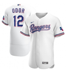 Men Texas Rangers 12 Rougned Odor Men Nike White Home 2020 Flex Base Player MLB Jersey