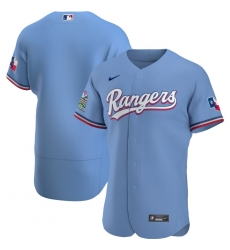 Men Texas Rangers Men Nike Light Blue Alternate 2020 Flex Base Team MLB Jersey