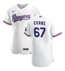 Texas Rangers 67 Demarcus Evans Men Nike White Home 2020 Authentic Player MLB Jersey